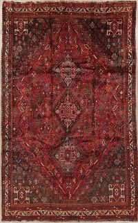 Tribal Geometric Qashqai Persian Hand-Knotted 5x9 Wool Area Rug