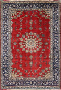 Floral Red Sarouk Persian Hand-Knotted 8x12 Wool Area Rug