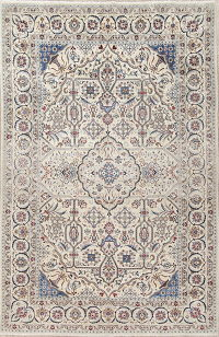 Floral Ivory Nain Persian Hand-Knotted 7x10 Wool Area Rug