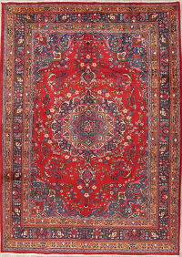 Floral Red Mashad Persian Hand-Knotted 7x10 Wool Area Rug