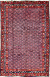 All-Over Boteh Botemir Persian Hand-Knotted 7x11 Wool Area Rug