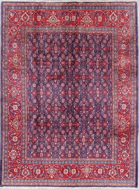 Floral Navy Blue Mahal Persian Hand-Knotted 7x10 Wool Area Rug