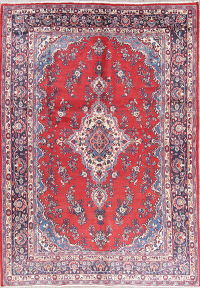 Floral Red Hamedan Persian Hand-Knotted 8x11 Wool Area Rug