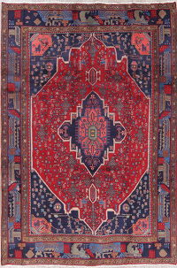 Geometric Red Bidjar Persian Hand-Knotted 7x11 Wool Area Rug