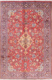 Floral Red Mahal Persian Hand-Knotted 7x10 Wool Area Rug