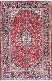 Traditional Floral Kashan Persian Hand-Knotted 7x10 Wool Area Rug