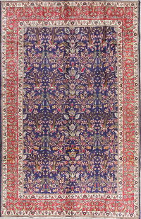 Floral Blue Tabriz Persian Hand-Knotted 7x11 Wool Area Rug
