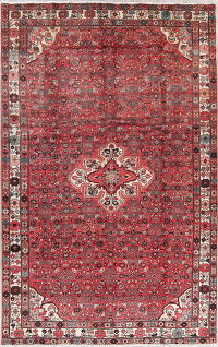 Geometric Red Hamedan Persian Hand-Knotted 7x11 Wool Area Rug