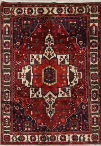 Geometric Red Bakhtiari Persian Hand-Knotted 7x9 Wool Area Rug