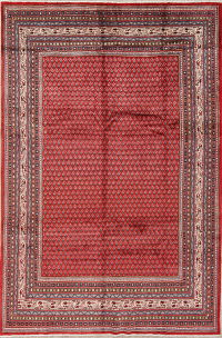 Red Boteh Botemir Persian Hand-Knotted 7x10 Wool Area Rug