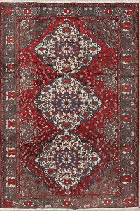Geometric Red Bakhtiari Saman Persian Hand-Knotted 7x10 Wool Area Rug