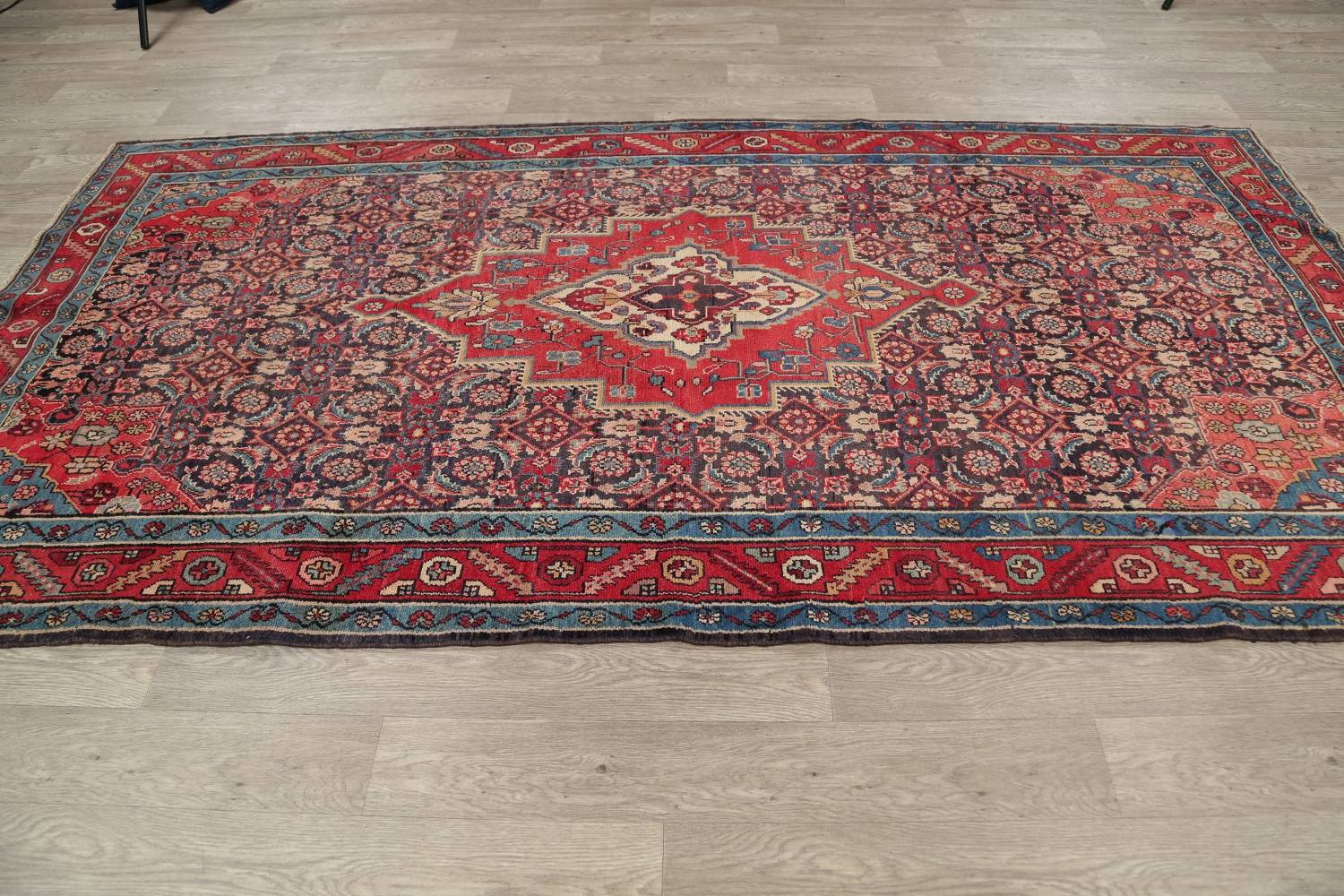Antique Bakhtiari Persian Hand-Knotted 5x10 Wool Runner Rug image 13