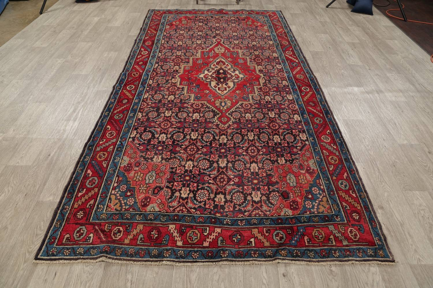 Antique Bakhtiari Persian Hand-Knotted 5x10 Wool Runner Rug image 14