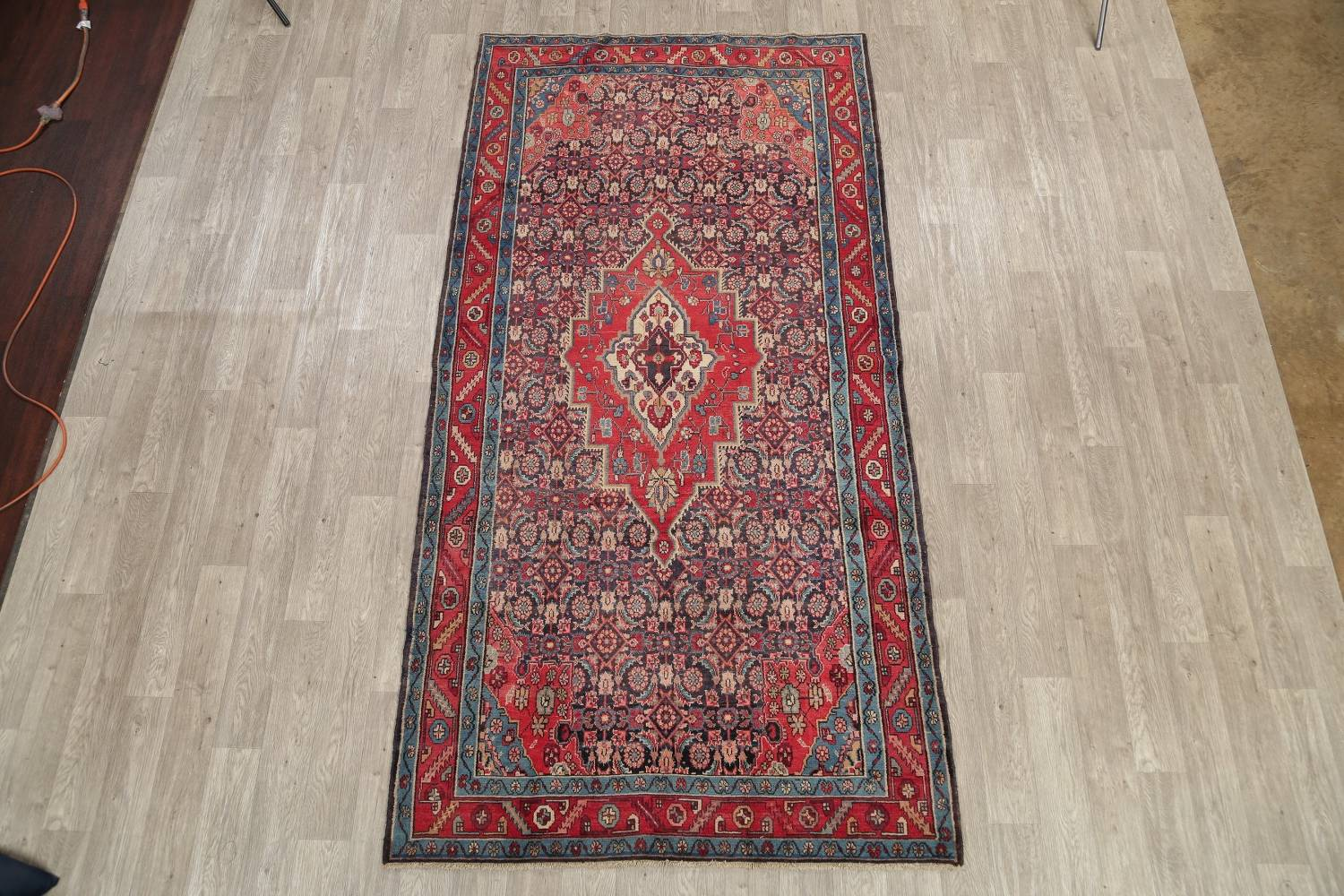 Antique Bakhtiari Persian Hand-Knotted 5x10 Wool Runner Rug image 2
