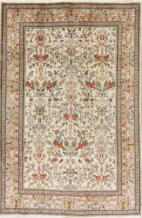 All-Over Ivory Tabriz Persian Hand-Knotted 6x9 Wool Area Rug