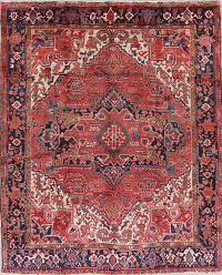 Geometric Red Heriz Persian Hand-Knotted 8x10 Wool Area Rug