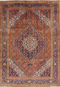 Geometric Ardebil Persian Hand-Knotted 7x10 Wool Area Rug