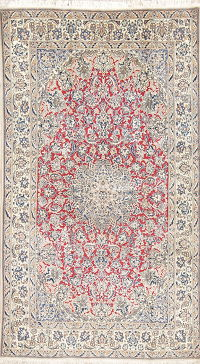 Floral Red Nain Persian Hand-Knotted 4x6 Wool Silk Area Rug