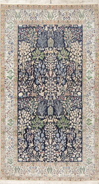 Antique Floral Nain Toodeshk Persian Hand-Knotted 5x9 Wool Silk Area Rug