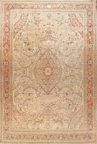 Pre-1900 Antique Vegetable Dye Tabriz Haj Jalili Persian 13x19 Wool Rug