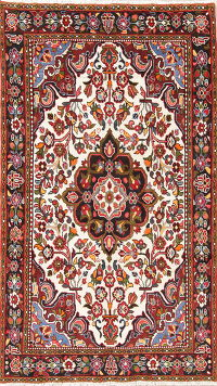 Floral Ivory Lilian Persian Hand-Knotted 5x8 Wool Area Rug