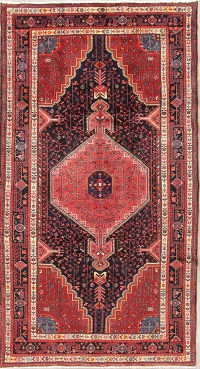 Geometric Black and Red Zanjan Persian Hand-Knotted 5x9 Wool Area Rug