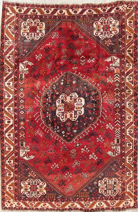 Tribal Geometric Shiraz Persian Hand-Knotted 6x8 Wool Area Rug