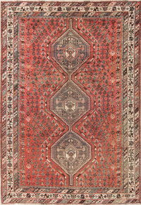 Antique Geometric Qashqai Persian Hand-Knotted 7x10 Wool Area Rug