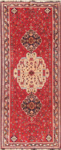 Tribal Geometric Kashkoli Persian Hand-Knotted 4x9 Wool Runner Rug
