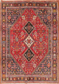 Geometric Red Kashkoli Persian Hand-Knotted 7x10 Wool Area Rug