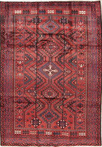 Geometric Red Lori Persian Hand-Knotted 6x9 Wool Area Rug