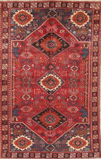 Tribal Geometric Shiraz Persian Hand-Knotted 6x10 Wool Area Rug
