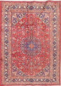 Traditional Floral Mashad Persian Hand-Knotted 7x9 Wool Area Rug