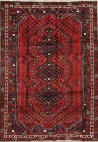 Geometric Red Shiraz Persian Hand-Knotted 6x9 Wool Area Rug