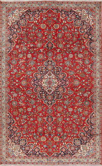 Traditional Floral Kashan Persian Hand-Knotted 7x11 Wool Area Rug