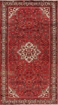 Geometric Red Hamedan Persian Hand-Knotted 6x10 Wool Area Rug