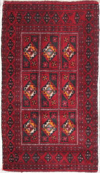 Geometric Red Balouch Persian Hand-Knotted 2x3 Wool Rug