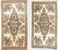 Pair of Floral Tabriz Persian Hand-Knotted 2x3 Wool Ivory Rugs
