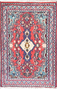 Geometric Coral Red Hamedan Persian Hand-Knotted 2x3 Wool Rug
