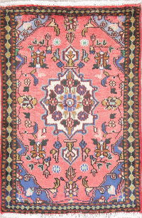 Geometric Pink Hamedan Persian Hand-Knotted 2x3 Wool Rug