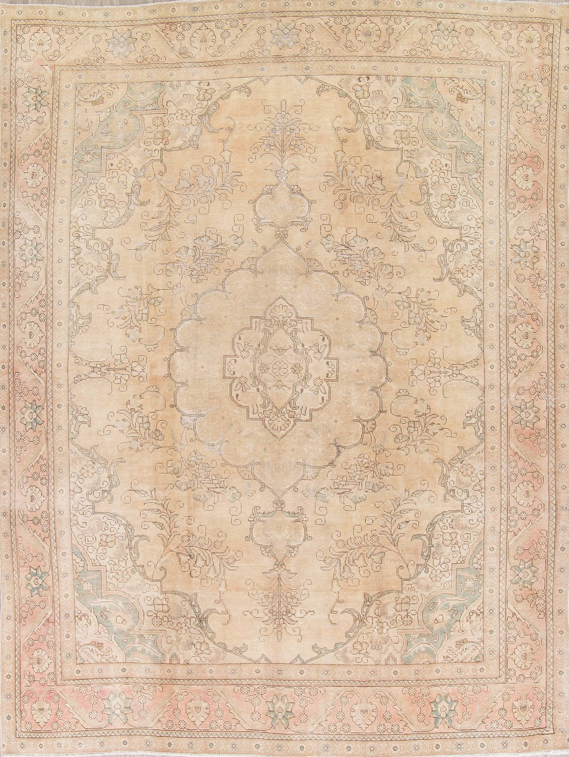 Muted Tabriz Persian Hand-Knotted 9x12 Wool Distressed Area Rug image 1