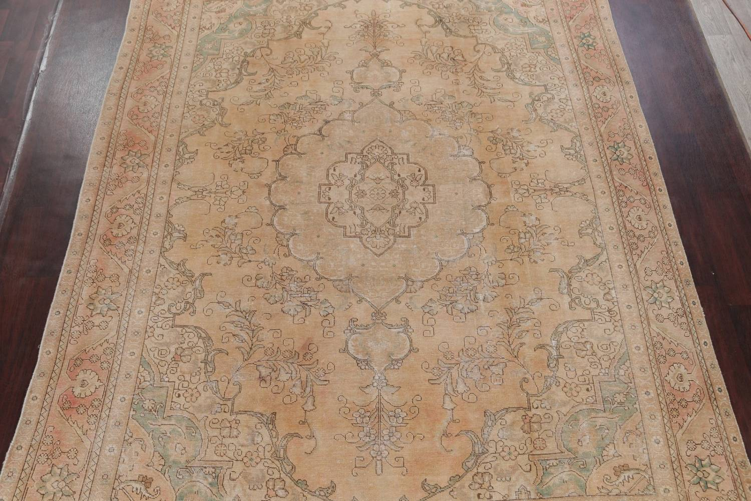 Muted Tabriz Persian Hand-Knotted 9x12 Wool Distressed Area Rug image 3