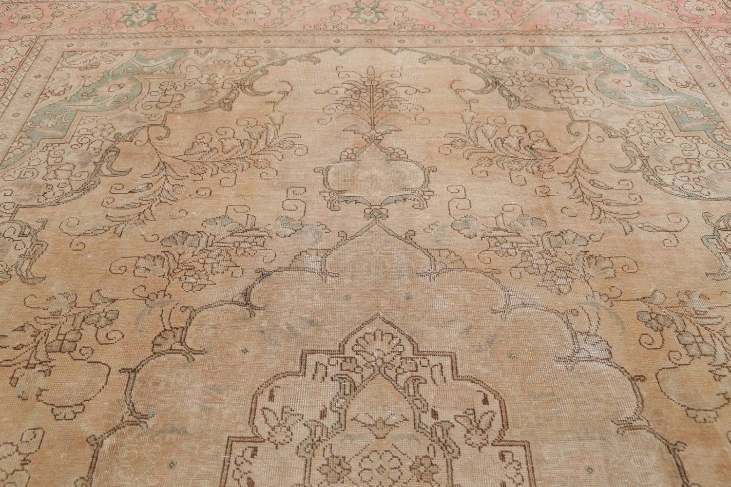 Muted Tabriz Persian Hand-Knotted 9x12 Wool Distressed Area Rug image 15
