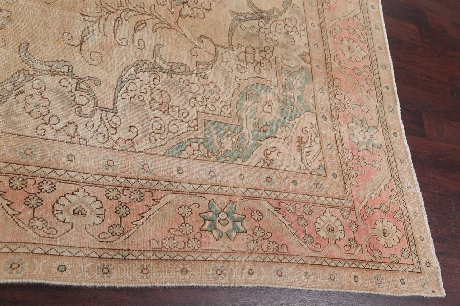 Muted Tabriz Persian Hand-Knotted 9x12 Wool Distressed Area Rug image 16