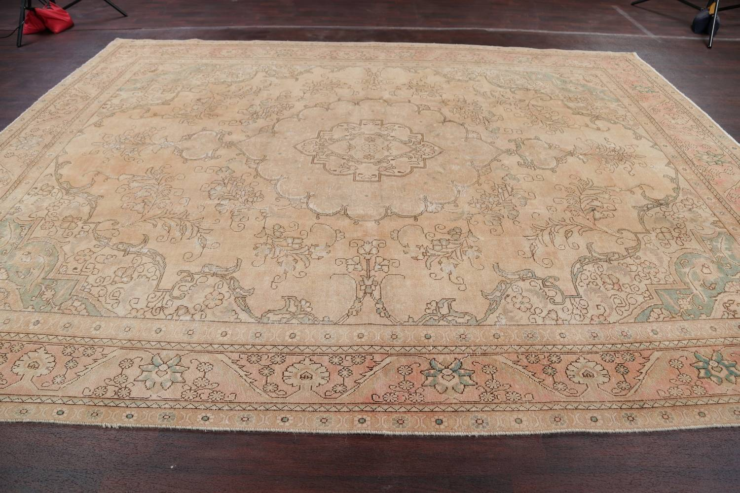 Muted Tabriz Persian Hand-Knotted 9x12 Wool Distressed Area Rug image 17