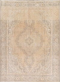 Muted Color Floral Tabriz Persian Hand-Knotted 8x11 Wool Area Rug