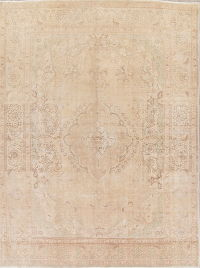 Muted Color Floral Tabriz Persian Hand-Knotted 9x12 Wool Area Rug