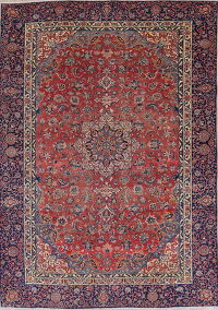 Traditional Floral Najafabad Persian Hand-Knotted 9x12 Wool Area Rug