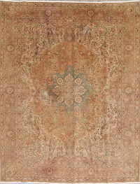Muted Color Floral Tabriz Persian Hand-Knotted 10x13 Wool Area Rug