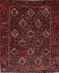 All-Over Red Bakhtiari Persian Hand-Knotted 9x12 Wool Area Rug